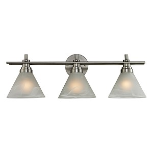 "Pemberton Collection 3-Light 26"" Satin Nickel LED Bathbar with White Marbleized Glass 11402/3-LED"