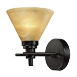"Pemberton Collection 1-Light 7"" Oiled Bronze LED Wall Sconce with Tea Stained Brown Swirl Glass 11410/1-LED"
