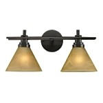 "Pemberton Collection 2-Light 18"" Oiled Bronze LED Bathbar with Tea Stained Brown Swirl Glass 11411/2-LED"