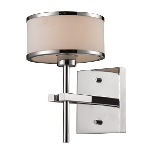 "Utica Collection 1-Light 6"" Polished Chrome Wall Sconce with Opal Glass 11415/1"
