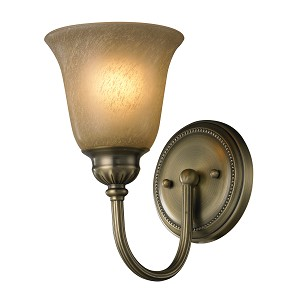 "Ventura Collection 1-Light 6"" Antique Brass Wall Sconce with Etched Amber Glass 11423/1"