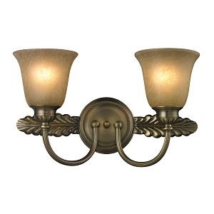 "Ventura Collection 2-Light 18"" Antique Brass Bathroom Vanity Fixture with Etched Amber Glass 11424/2"