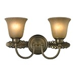 "Ventura Collection 2-Light 18"" Antique Brass LED Bathroom Vanity Fixture with Etched Amber Glass 11424/2-LED"