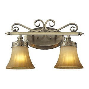 "Claremont Collection 2-Light 16"" Colonial Bronze Bathbar with Etched Amber Glass 11427/2"