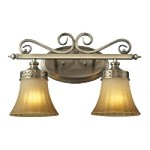 "Claremont Collection 2-Light 16"" Colonial Bronze LED Bathbar with Etched Amber Glass 11427/2-LED"