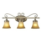 "Claremont Collection 3-Light 26"" Colonial Bronze LED Bathbar with Etched Amber Glass 11428/3-LED"