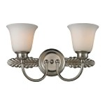 "Ventura Collection 2-Light 18"" Brushed Nickel LED Bathroom Vanity Fixture with Opal Glass 11434/2-LED"