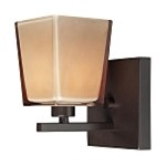 "Serenity Collection 1-Light 5"" Oiled Bronze Wall Sconce with Double Caramel Glass 11436/1"