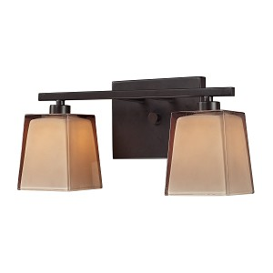 "Serenity Collection 2-Light 13"" Oiled Bronze Bathroom Vanity Fixture with Double Caramel Glass 11437/2"