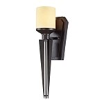 "Cordova Collection 1-Light 19"" Oiled Bronze LED Wall Sconce with Light Amber Scavo Glass 14090/1-LED"