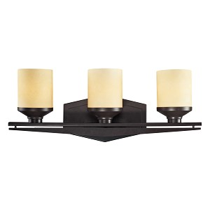 "Cordova Collection 3-Light 22"" Oiled Bronze Bathroom Vanity Fixture with Light Amber Scavo Glass 14093/3"