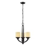 "Cordova Collection 3-Light 19"" Oiled Bronze LED Mini Chandelier with Light Amber Scavo Glass 14096/3-LED"