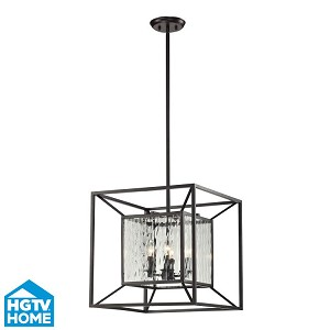 "Cubix Collection 4-Light 18"" Oiled Bronze Chandelier With Clear Water Glass 14122/4"
