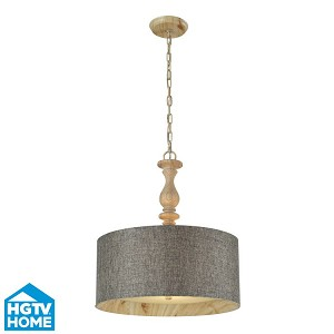 "Nathan Collection 3-Light 23"" Washed Pine Pendant With Slate Linen Shade 14171/3"