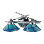 "Refraction Collection 2-Light 16"" Polished Chrome Bathroom Vanity Fixture with Caribbean Glass 1471/2CAR"