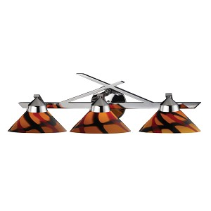 "Refraction Collection 3-Light 25"" Polished Chrome Bathroom Vanity Fixture with Jasper Glass 1472/3JAS"