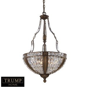 "Trump Home Millwood Collection 6-Light 31"" Antique Bronze Crystal Pendant 2495/6"