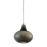 "Kaolin Collection 1-Light 7"" Mini Pendant with Natural Gourd-Shaped Blown Glass 31144/1"