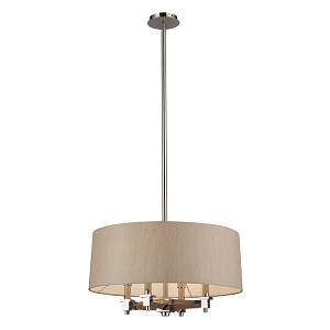 "Jorgenson Collection 4-Light 22"" Champagne Drum Shaded Wood Chandelier 31335/4"