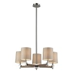 "Jorgenson Collection 5-Light 28"" Wood Chandelier with Polished Nickel Accents 31337/5"