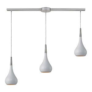 "Lindsey Collection 3-Light 36"" White Glass Linear Pendant 31340/3L-WH"