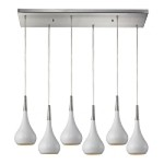 "Lindsey Collection 6-Light 30"" White Glass Rectangular Pendant 31340/6RC-WH"