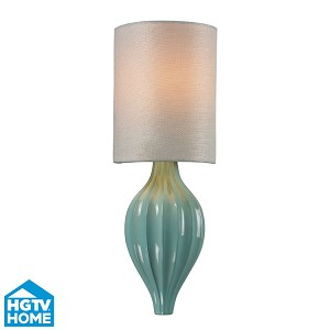 "Lilliana Collection 1-Light 17"" Aged Silver / Seafoam Wall Sconce With White Textured Linen Shade 31360/1"