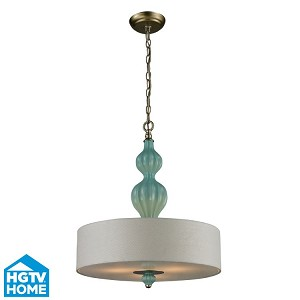 "Lilliana Collection 3-Light 23"" Aged Silver / Seafoam Pendant With White Textured Linen Shade 31362/3"