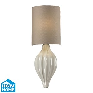 "Lilliana Collection 1-Light 17"" Aged Bronze / Cream Wall Sconce With Beige Textured Linen Shade 31370/1"