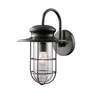 "Portside Collection 1-Light 18"" Matte Black Outdoor Wall Sconce with Clear Blown Glass 42285/1"