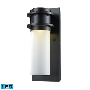 "Freeport Collection 1-Light 12"" Matte Black LED Outdoor Wall Sconce with Frosted Glass 43010/1"