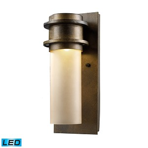 "Freeport Collection 1-Light 12"" Hazelnut Bronze LED Outdoor Wall Sconce with Amber Glass 43020/1"