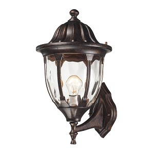 "Glendale Collection 1-Light 16"" Regal Bronze Outdoor Wall Lantern with Water Glass 45001/1"