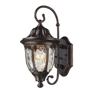 "Glendale Collection 1-Light 14"" Regal Bronze Outdoor Wall Lantern with Water Glass 45002/1"