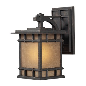 "Newlton Collection 1-Light 12"" Weathered Charcoal LED Outdoor Wall Lantern with Seeded Amber Linen Glass 45010/1-LED"