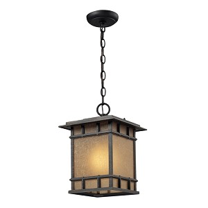 "Newlton Collection 1-Light 13"" Weathered Charcoal Outdoor Hanging Lantern with Seeded Amber Linen Glass 45013/1"