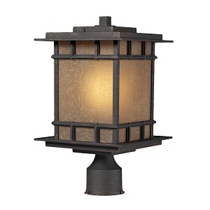"Newlton Collection 1-Light 16"" Weathered Charcoal Outdoor Post Mount Lantern with Seeded Amber Linen Glass 45014/1"