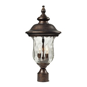 "Lafayette Collection 2-Light 21"" Regal Bronze Outdoor Post Mount Lantern with Blown Water Glass 45023/2"