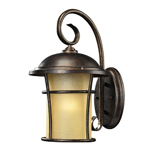 "Bolla Vista Collection 1-Light 15"" Regal Bronze Outdoor Wall Lantern with Amber Glass 45035/1"