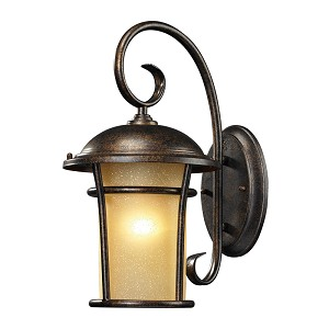 "Bolla Vista Collection 1-Light 17"" Regal Bronze LED Outdoor Wall Lantern with Amber Glass 45036/1-LED"