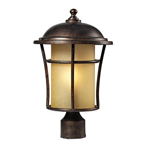 "Bolla Vista Collection 1-Light 17"" Regal Bronze Outdoor Post Mount Lantern with Amber Glass 45038/1"