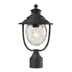 "Searsport Collection 1-Light 15"" Weathered Charcoal Outdoor Post Mount Lantern with Water Glass 45042/1"