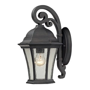 "Wellington Park Collection 1-Light 14"" Weathered Charcoal Outdoor Wall Lantern with Seedy Glass 45050/1"