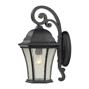 "Wellington Park Collection 1-Light 17"" Weathered Charcoal Outdoor Wall Lantern with Seedy Glass 45051/1"
