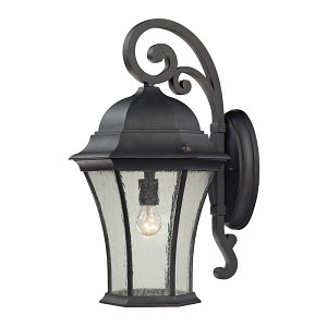"Wellington Park Collection 1-Light 22"" Weathered Charcoal Outdoor Wall Lantern with Seedy Glass 45052/1"