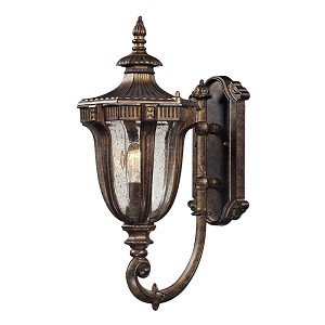 "Sturgess Castle Collection 1-Light 17"" Regal Bronze Outdoor Wall Lantern with Hand-Blown Seedy Glass 45060/1"