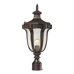 "Sturgess Castle Collection 1-Light 22"" Regal Bronze Outdoor Post Mount Lantern with Hand-Blown Seedy Glass 45062/1"