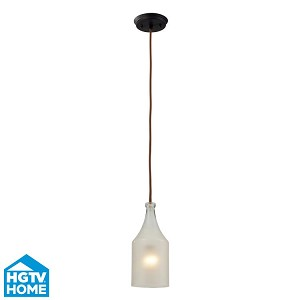 "Skylar Collection 1-Light 5"" Oiled Bronze Pendant With Frosted Glass Shade 46005/1"