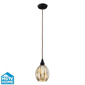 "Danica Collection 1-Light 10"" Oiled Bronze Mini Pendant With Scalloped Mercury Glass Shade 46007/1"