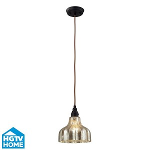 "Danica Collection 1-Light 9"" Oiled Bronze Mini Pendant With Scalloped Mercury Glass Shade 46008/1"